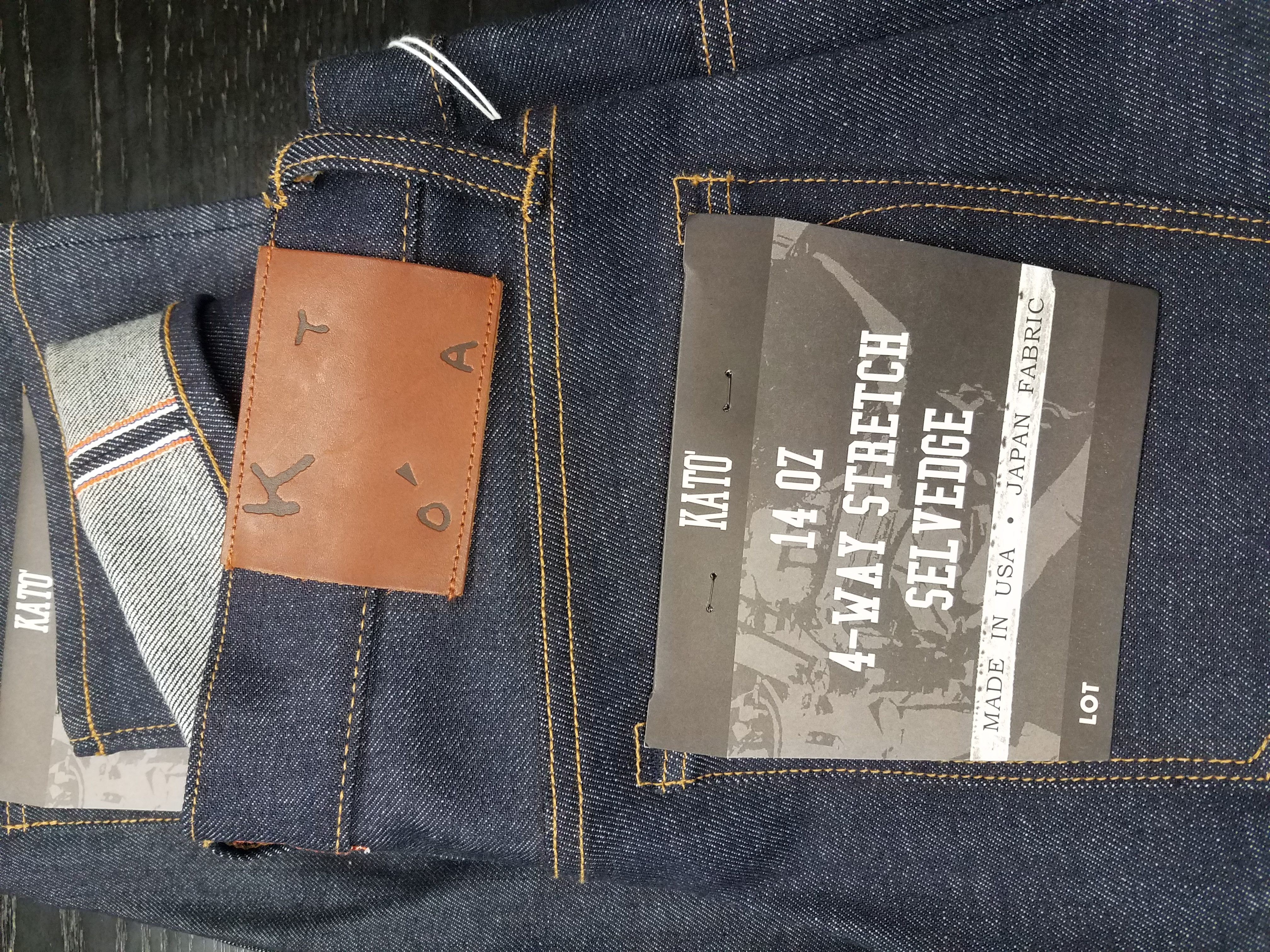 641afc14 This 14oz middleweight '4-Way' stretch denim from Kato' Brand is the worlds  first denim that stretches vertically as well as the usual horizontal  stretch.